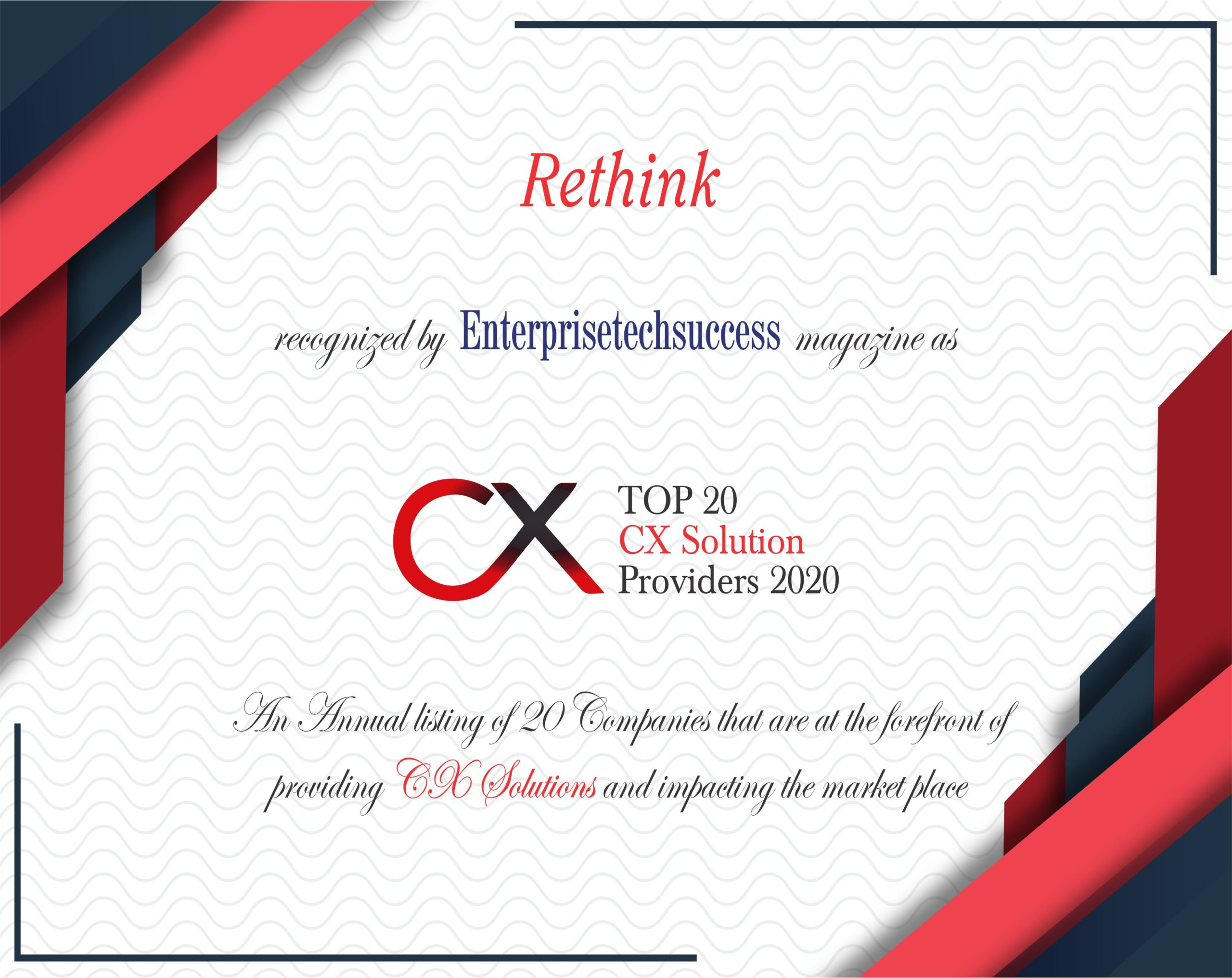 Rethink Top 20 CX Solution Provider 2020 Certificate